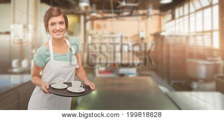 Waitress giving cup of coffee  against no one in the room