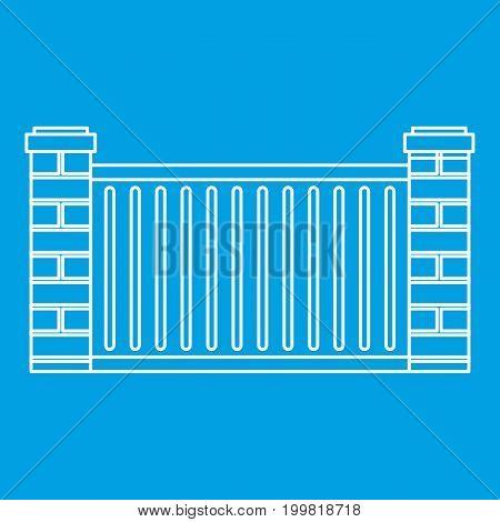 Home fence icon blue outline style isolated vector illustration. Thin line sign
