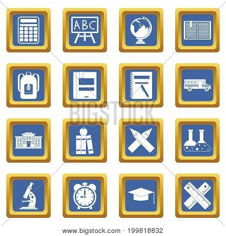 School icons set in blue color isolated vector illustration for web and any design