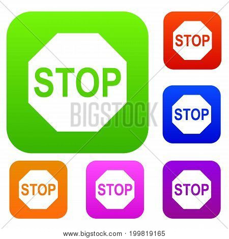 Stop sign set icon in different colors isolated vector illustration. Premium collection