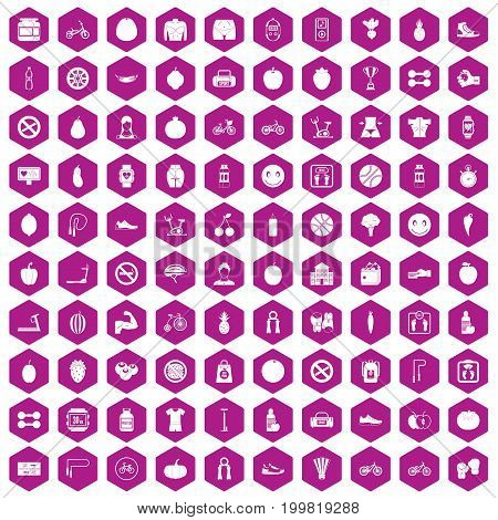 100 fitness icons set in violet hexagon isolated vector illustration