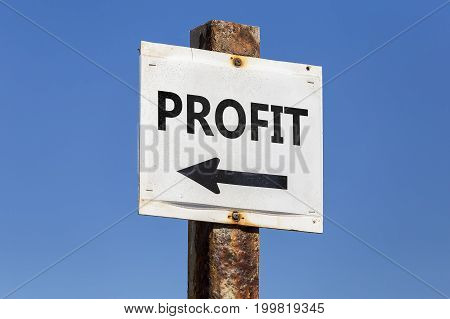 Profit Word And Arrow Signpost