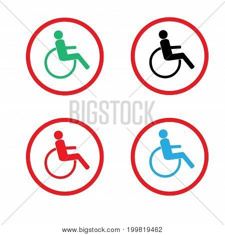 Disabled in red circle set. Mark disability. Icon a place open passage. Symbol paralyzed and human on wheelchair. Safety person warning handicapped illustration. Design element. Vector illustration
