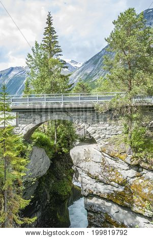 Stone arch bridge at Gudbrandsjuvet in Norway