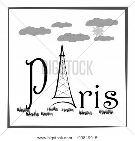 Black lettering with quote Paris on white background. Fashion print for sports wear. Template for t shirt apparel card poster. Eiffel Tower as symbol of love. Design element. Vector illustration