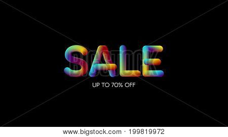 3d iridescent gradient SALE sign. Typographic element. Vibrant gradient shape. Liquid colors. Creativity concept. Visual communication poster design. Vector illustration. Advertising banner.