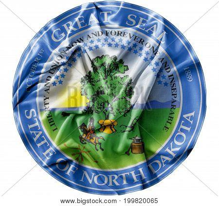 Ruffled waving United States North Dakota Seal flag