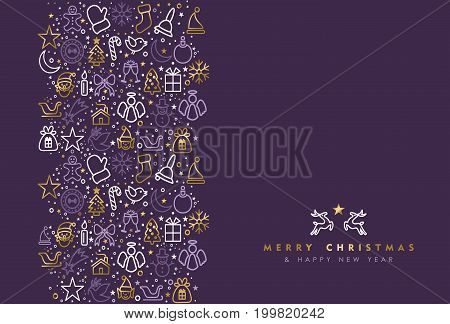 Gold Christmas Holiday Line Art Icon Greeting Card