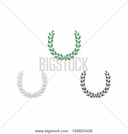 Wreath reward colorful set. Modern symbol of victory and award achievement champion. Leaf ceremony awarding of winner tournament. Colorful template for badge tag. Design element. Vector illustration
