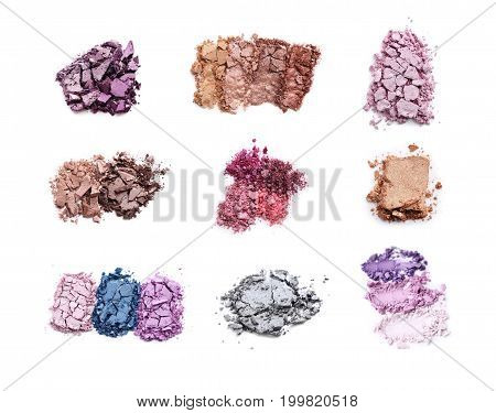 Collage Of Makeup Eyeshadow On White Background