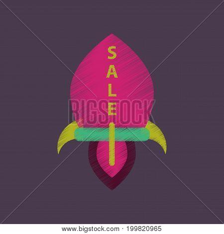 flat shading style icon sale rocket merchandise