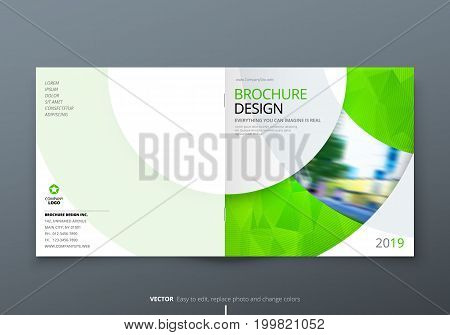 Square Brochure design. Green corporate business rectangle template brochure, report, catalog, magazine. Brochure layout modern circle shape abstract background. Creative brochure vector concept