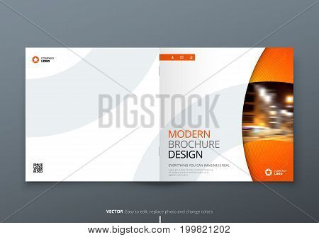 Square Brochure design. Orange corporate business rectangle template brochure, report, catalog, magazine. Brochure layout modern circle shape abstract background. Creative brochure vector concept