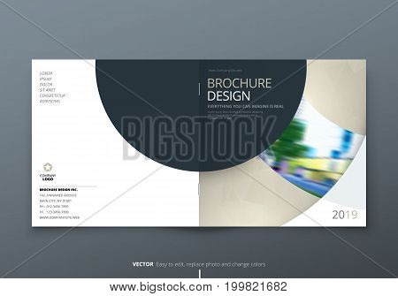 Square Brochure design. Biege corporate business rectangle template brochure, report, catalog, magazine. Brochure layout modern circle shape abstract background. Creative brochure vector concept