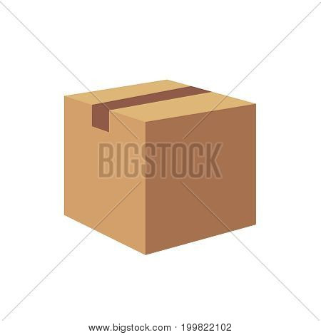 Carton container illustration, cardboard box pack closed parcel, design isolated on white. ilustration flai eps10