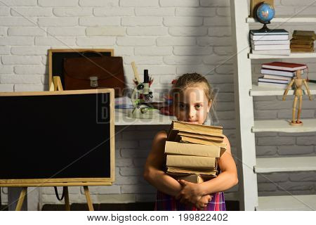 Back To School Concept. Schoolgirl Holds Pile Of Books