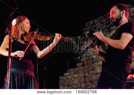 Casas de Reina Spain - august 13 2017: Spanish folk band Acetre in the regina theater