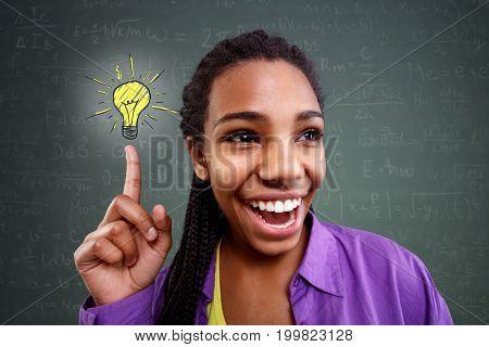 happy schoolgirl genius in mathematics have a solution