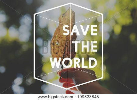 Save earth nature word on leaf background