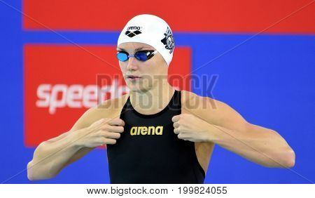 Hong Kong China - Oct 30 2016. Katinka HOSSZU (HUN) at the start of the Women's Freestyle 400m Final. FINA Swimming World Cup Victoria Park Swimming Pool.