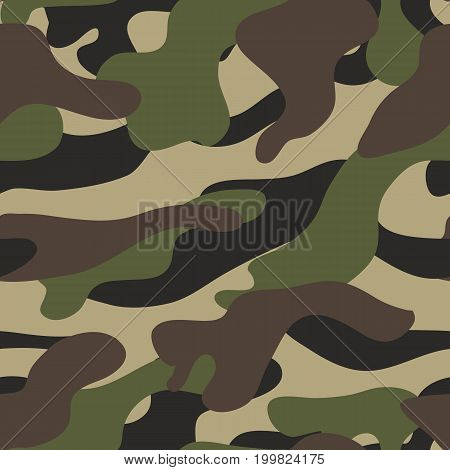 Camouflage pattern background seamless vector illustration. Camouflage pattern background. Military camouflage seamless pattern. Camouflage pattern background