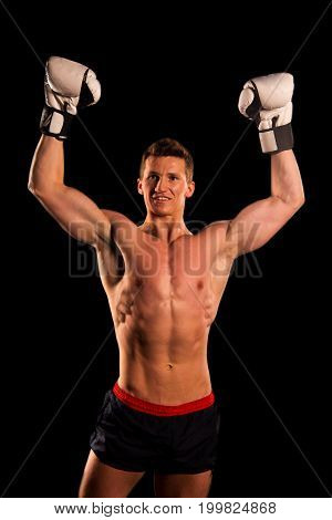 Boxer Man With Muscular Body In Boxing Gloves