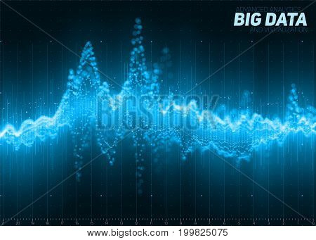 Vector abstract blue financial big data graph visualization. Futuristic infographics aesthetic design. Visual information complexity. Intricate data threads chart. Business analytics.