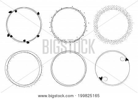 Set of vector graphic circle frames. Wreaths for design logo template. Branches dots hearts