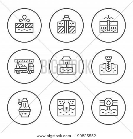 Set round line icons of water bore isolated on white. Vector illustration