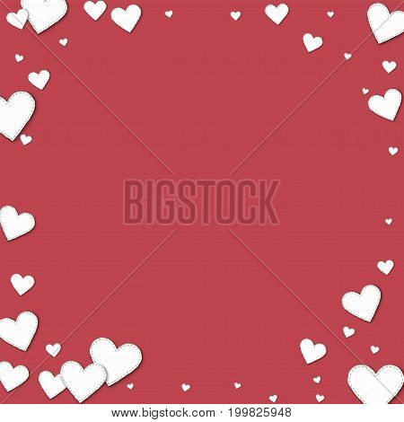 Cutout White Paper Hearts. Corner Frame With Cutout White Paper Hearts On Crimson Background. Vector