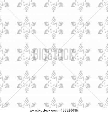 Snowflake seamless pattern. Snow flake sign. Silhouette design gray snowflake on white background. Symbol of winter decoration and Christmas holiday season. Graphic element. Flat vector illustration