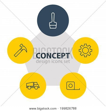Editable Pack Of Lorry, Measure Tape, Paintbrush And Other Elements.  Vector Illustration Of 5 Industry Icons.
