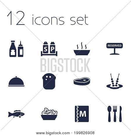 Collection Of Food, Condiments, Catsup And Other Elements.  Set Of 12 Bar Icons Set.