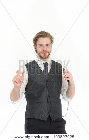 Businessman Or Ceo Listen Music.
