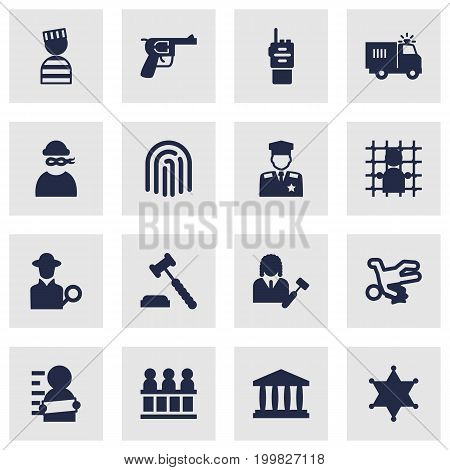 Collection Of Judge Gavel, Walkie-Talkie, Building And Other Elements.  Set Of 16 Crime Icons Set.