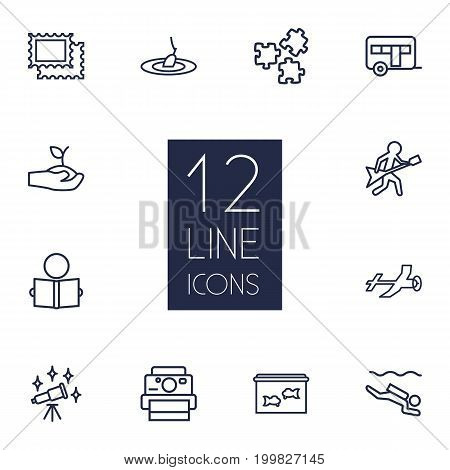 Collection Of Guitar, Photography, Stamps And Other Elements.  Set Of 12 Lifestyle Outline Icons Set.