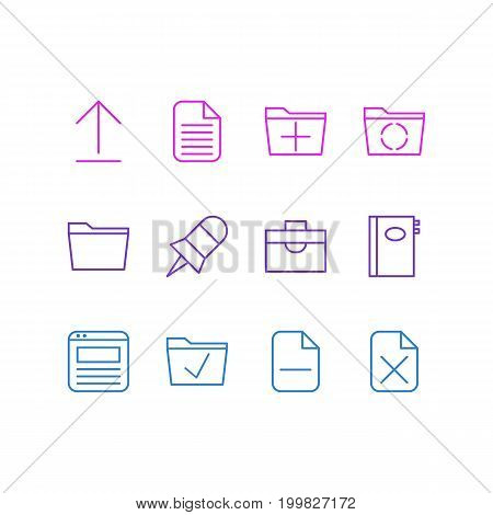 Editable Pack Of Loading, Page, Remove And Other Elements.  Vector Illustration Of 12 Bureau Icons.