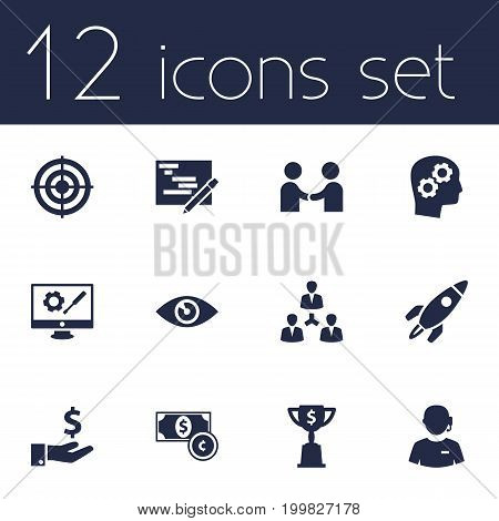 Collection Of Writing, Call Center, Goblet And Other Elements.  Set Of 12 Idea Icons Set.