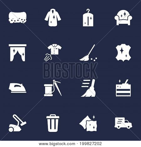 Collection Of Iron, Dry, Besom And Other Elements.  Set Of 16 Harvesting Icons Set.