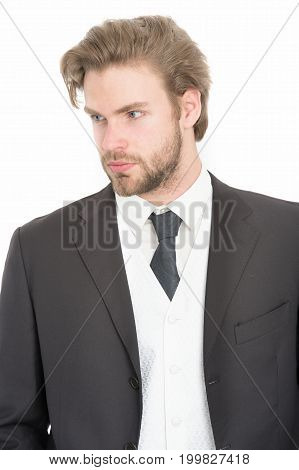 Man In Formal Outfit Isolated On White.