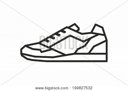 Sneakers line icon on white background. Vector illustration.