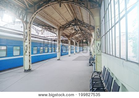 Vintage Retro Platform Passenger Railway Station. Concept Of Meeting, Waiting, Seeing People On The