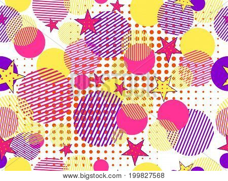 Memphis Seamless Pattern. Pop Art Dotted And Geometric Elements Memphis In The Style Of 80's. Vector
