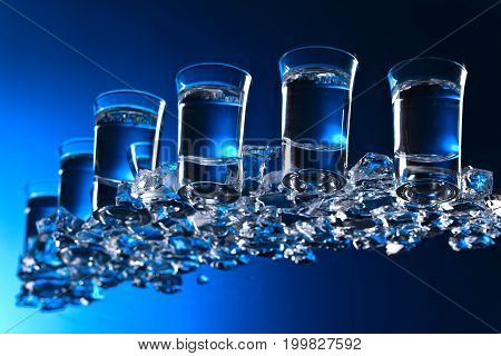Glasses Of Vodka With Ice.