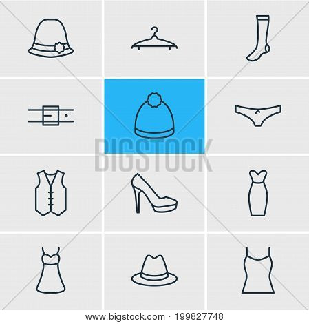 Editable Pack Of Panties, Evening Dress, Hosiery And Other Elements.  Vector Illustration Of 12 Dress Icons.