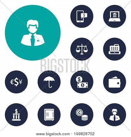 Collection Of Cashbox, Cash, Building And Other Elements.  Set Of 12 Finance Icons Set.