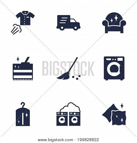 Collection Of Besom, Shipping, Cleaning And Other Elements.  Set Of 9 Cleaning Icons Set.