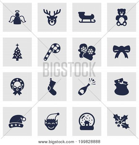 Collection Of Lollipop, Gnome, Bear And Other Elements.  Set Of 16 Christmas Icons Set.
