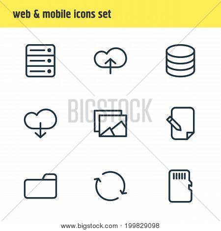 Editable Pack Of Agreement, Memory, Cloud And Other Elements.  Vector Illustration Of 9 Memory Icons.