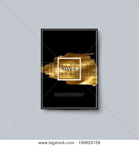 Abstract luxury poster with golden paint stain. Vector artistic illustration. Black background with golden stain. Poster design template. A4 paper size